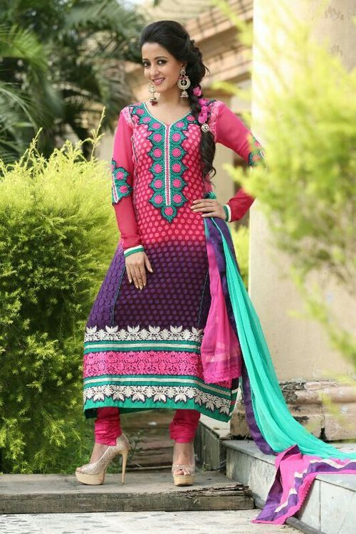 Designer Pink Purple Sawlar Kameez
