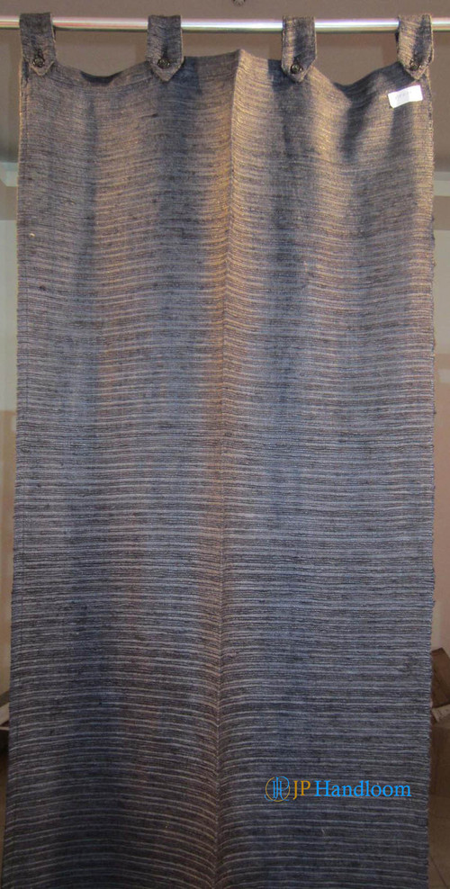 Black Dyed Tussar Silk Curtain