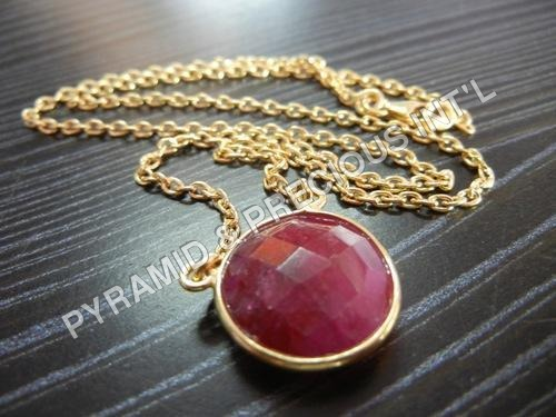 Dyed Ruby Faceted Round Pendant