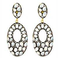 Silver Diamond Moonstone Earrings