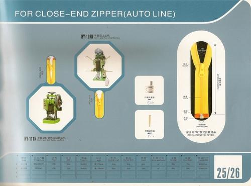 Metal Close end Zipper Machines