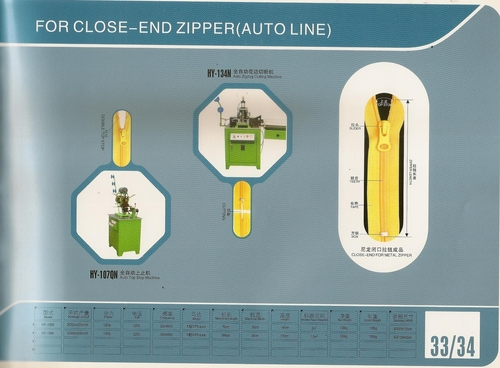Auto Line CLOSE- END ZIPPER
