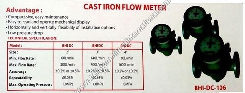 Cast iron flow meter