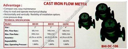 Cast iron flow meter