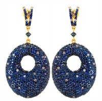 Sapphire Diamond Gold Earrings