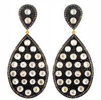Gold Gemstone Diamond Earrings