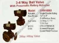 3-4 Way ball valve with pneumatic rotary actuator