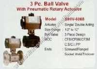 3 PC ball valve with pneumatic rotary actuator