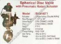 Spherical disc valve with pneumatic rotary actuato