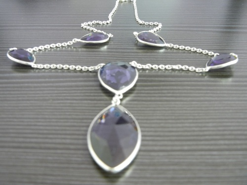 Amethyst Sterling Silver Bezel Set Necklace