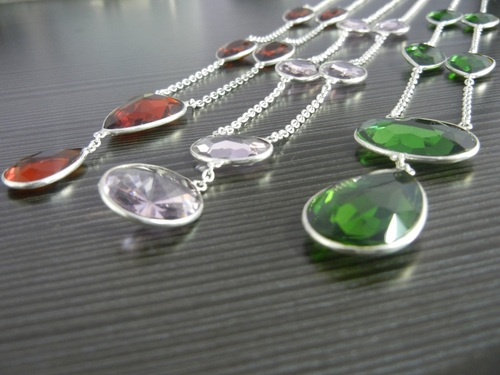 Silver Bazel Set Necklace