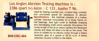 Los angels abrzion testing machine