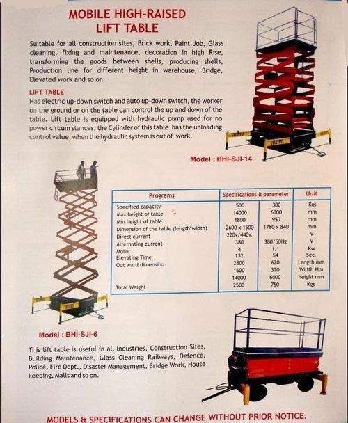 mobile high raised lift table
