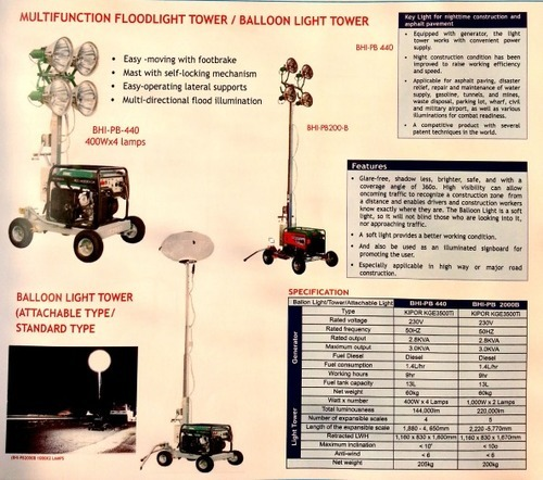 multifunction floodlight tower balloon ligth tower