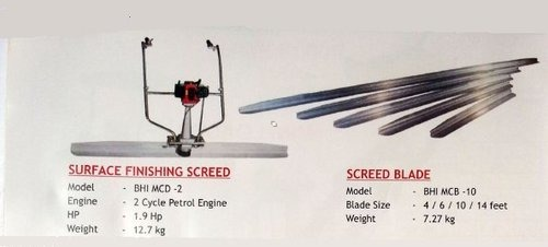 surface finished screed & screed blade