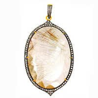 Diamond Rutile Gold Pendant