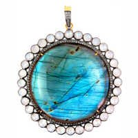 Moonstone Labradorite Diamond Gold Pendant