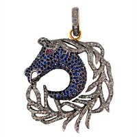Sapphire Diamond Gold Pendant