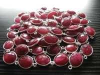 Sterling Silver Ruby Round Connectors