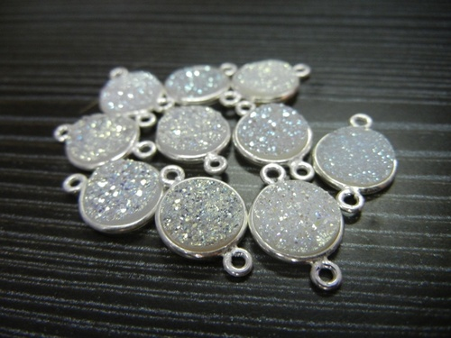 925 Sterlling Silver Druzy Gemstone Connectors