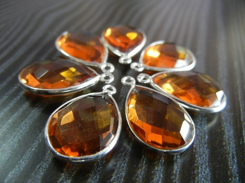 Honey Quartz Pear Shape Gemstone Connectors