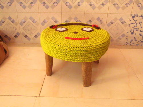 Knitted wood stool