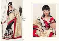 Designer Red Black Saree