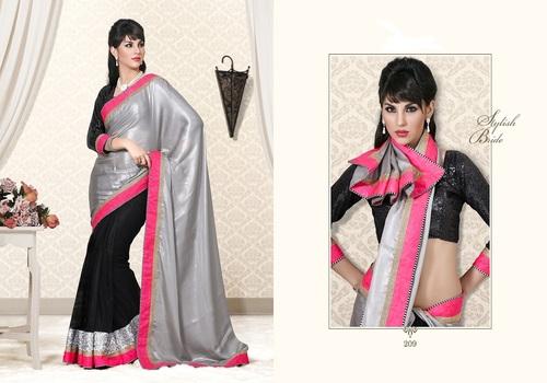 Designer Silver Black Party Wear Saree
