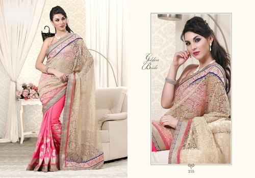 Saga Cream - Pink Designer Saree