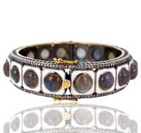Labradorite Diamond Gold Bangle