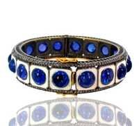 Lapis Diamond Gold Bangle