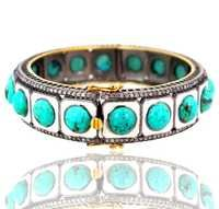 Turquoise Diamond Gold Bangle