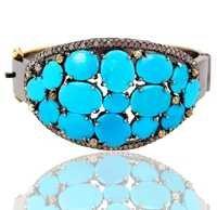 Gold Diamond Turquoise Bangle