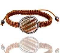 Rutile Diamond Macrame Gold Bracelet