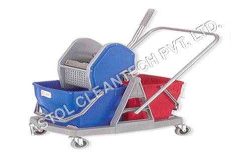 Double MOP Bucket Wringer Trolley