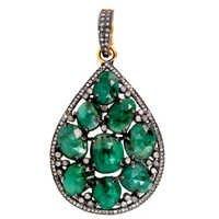 Emerald Diamond Gold Pendant