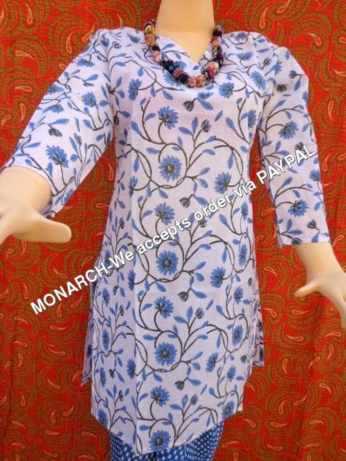 Blue Mughal Flower Print Kurti