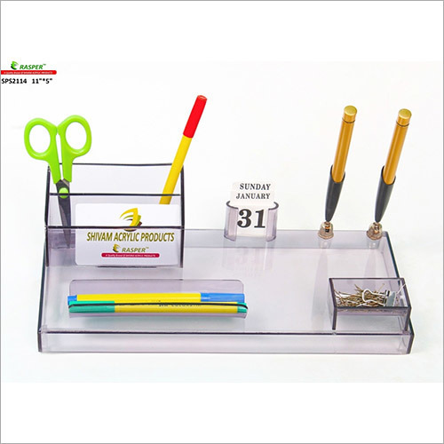 Acrylic Pen Stand With Card Holder
