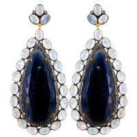 Blue Sapphire Moonstone Diamond Gold Earrings