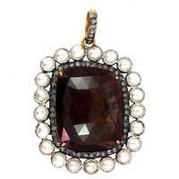 Multi Sapphire Pearl Diamond Gold Earrings