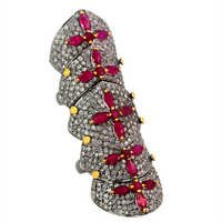 Ruby Diamond Gold Knuckle Ring