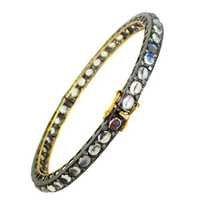 Moonstone Diamond Gold Bangle
