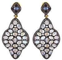 Gold Moonstone Diamond Earrings