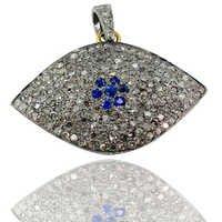 Pave Diamond Sapphire Gold Pendant