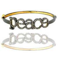 Diamond Gold Peace Bangle
