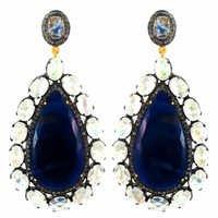 Sapphire Moonstone Diamond Gold Earrings