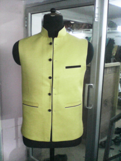 Yellow Jawahar Cut Jackets