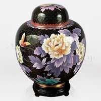 China Black Cloisonné Cremation Urn