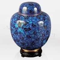 China Blue Cloisonné Cremation Urn