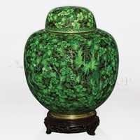 China Green Cloisonné Cremation Urn